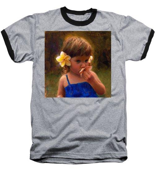 Flower Girl - Tropical Portrait With Plumeria Flowers Baseball T-Shirt