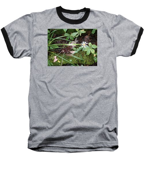 Baseball T-Shirt featuring the photograph Flower In The Woods by Robert Nickologianis
