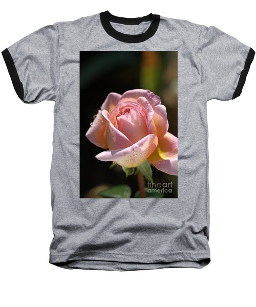 Flower-pink And Yellow Rose-bud Baseball T-Shirt