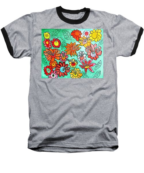 Baseball T-Shirt featuring the painting Flower Power by Artists With Autism Inc