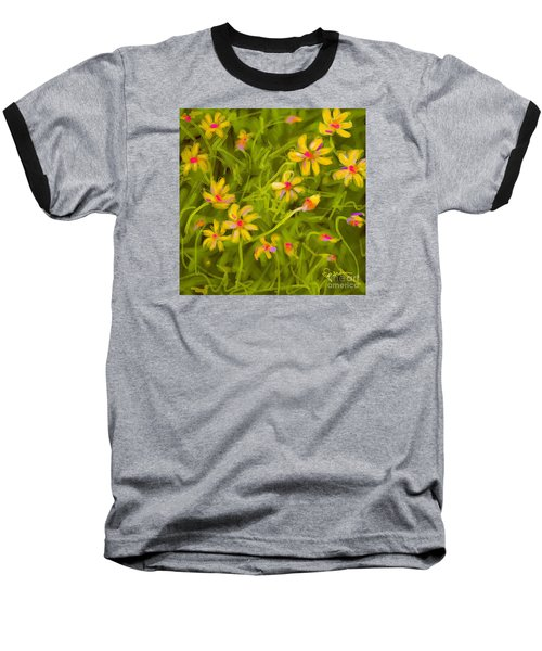 Baseball T-Shirt featuring the painting Flowerfield by Go Van Kampen