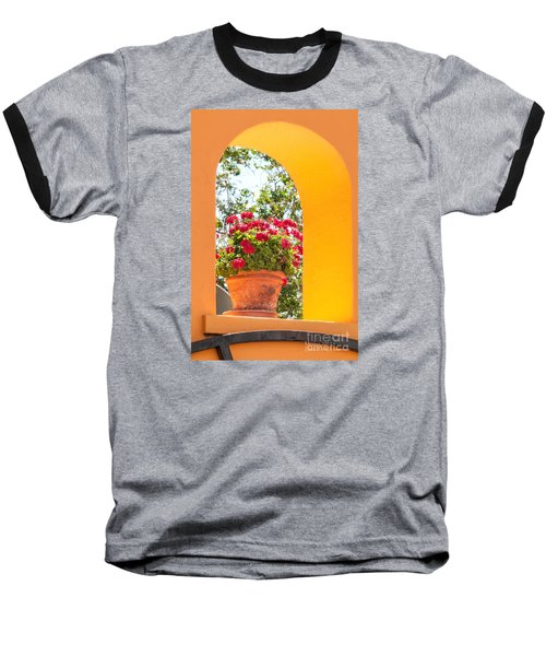 Baseball T-Shirt featuring the photograph Flowerpot In A Mexican Wall by David Perry Lawrence