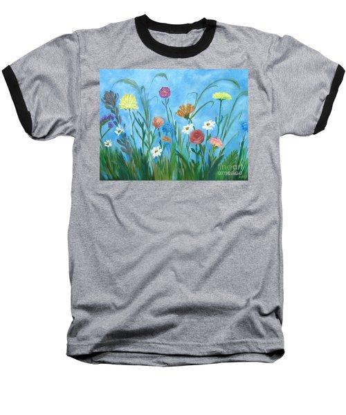 Flowers All Around Baseball T-Shirt