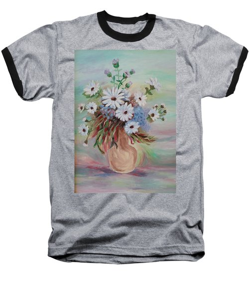 Baseball T-Shirt featuring the painting Flowers For Mom by Christy Saunders Church