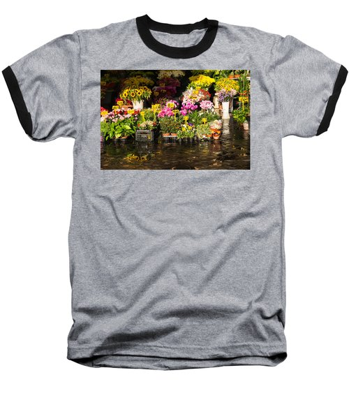 Flowers For Sale At Campo De Fiori - My Favourite Market In Rome Italy Baseball T-Shirt