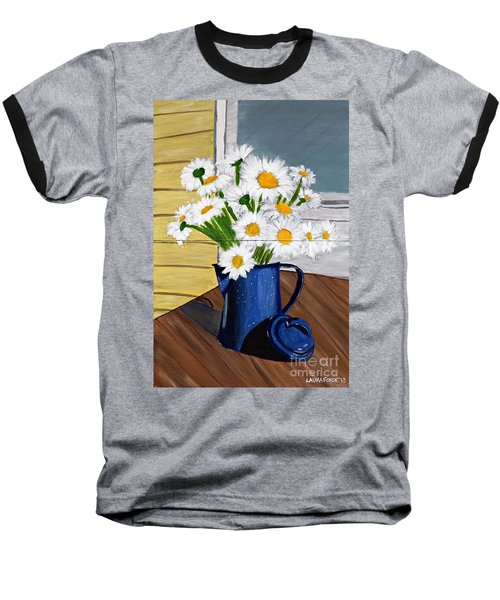 Flowers In A Teapot Baseball T-Shirt by Laura Forde