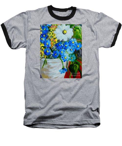 Flowers In A White Vase Baseball T-Shirt by Eloise Schneider