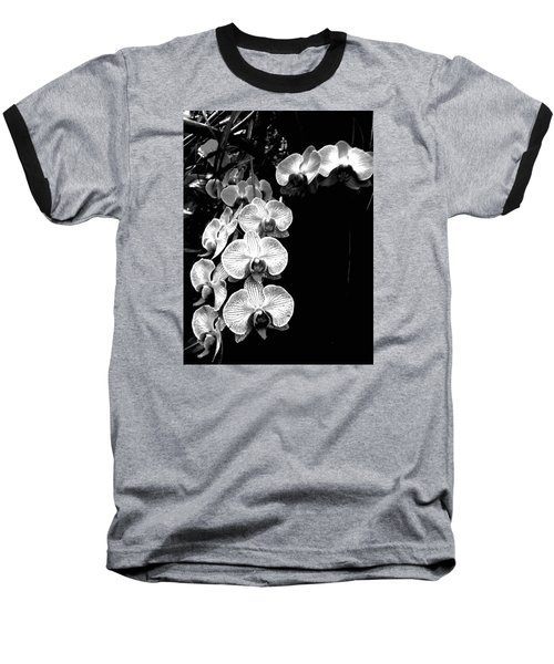 Flowers In Black And White Baseball T-Shirt