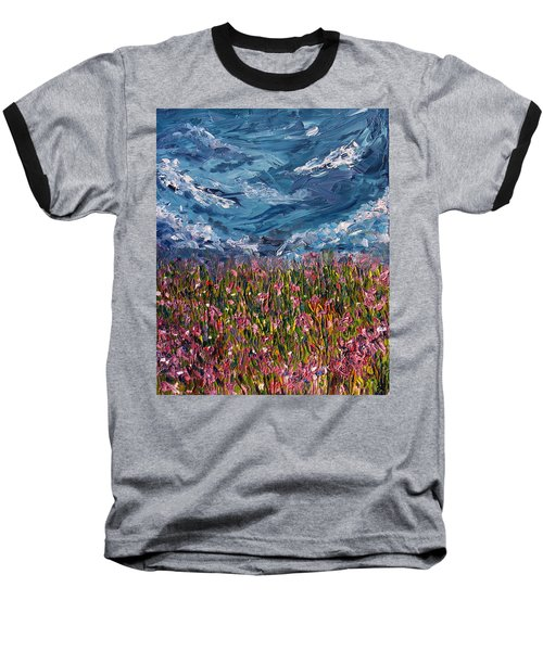 Baseball T-Shirt featuring the painting Flowers Of The Field by Meaghan Troup