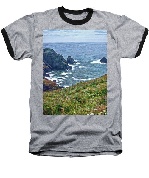 Flowers On Isle Of Guernsey Cliffs Baseball T-Shirt