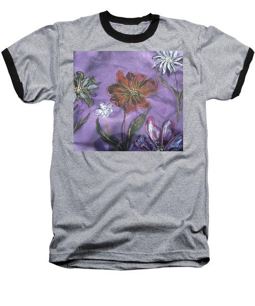 Flowers On Silk Baseball T-Shirt