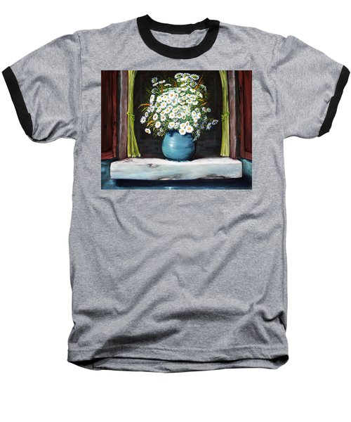 Flowers On The Ledge Baseball T-Shirt