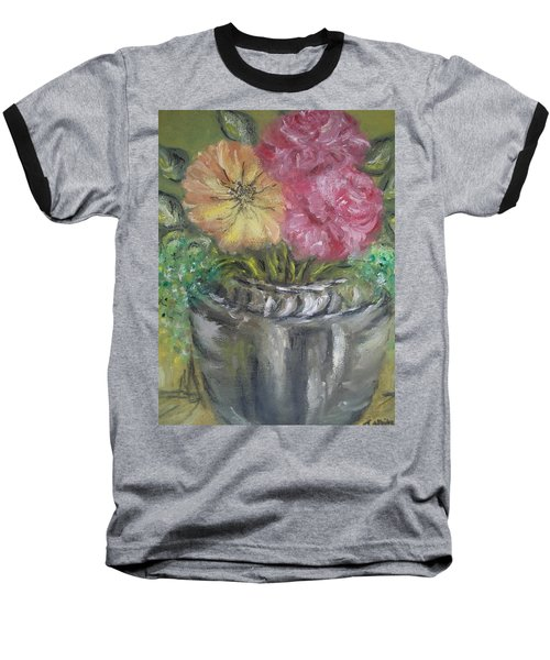 Baseball T-Shirt featuring the painting Flowers by Teresa White