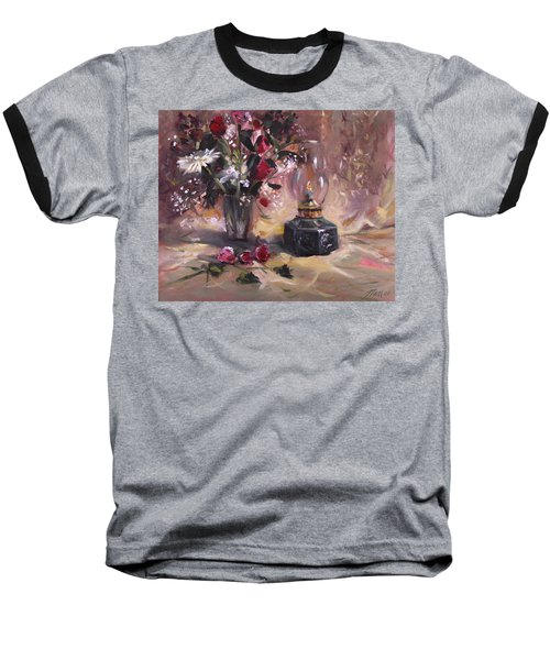 Baseball T-Shirt featuring the painting Flowers With Lantern by Nancy Griswold