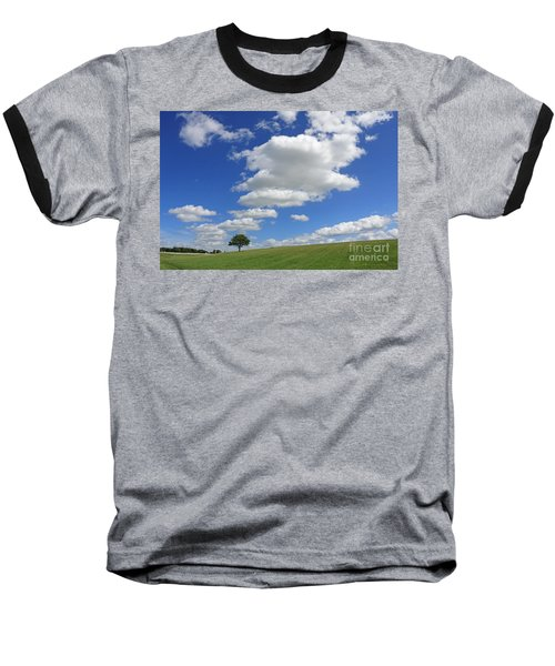 Fluffy Clouds Over Epsom Downs Surrey Baseball T-Shirt