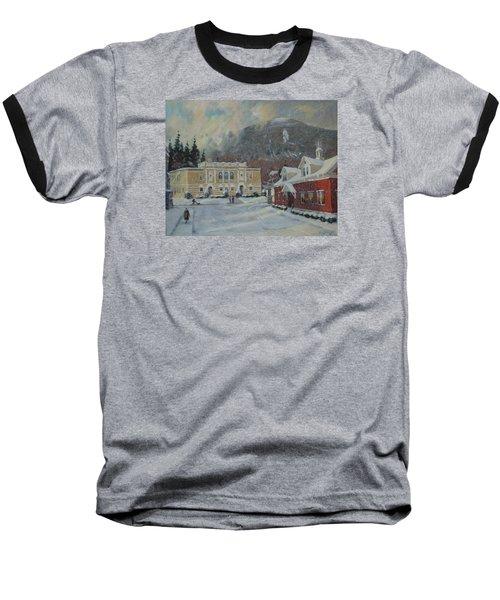 Flurries Over Mount Greylock Baseball T-Shirt by Len Stomski