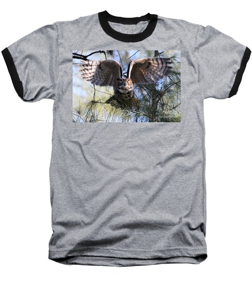 Flying Blind - Great Horned Owl Baseball T-Shirt