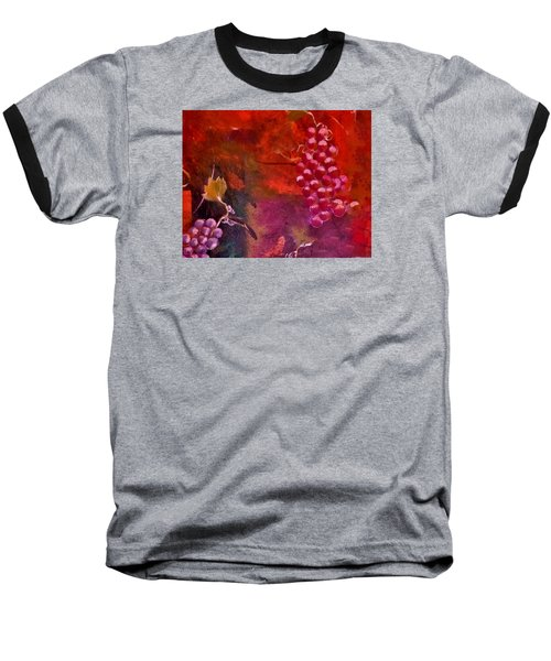 Baseball T-Shirt featuring the painting Flying Grapes by Lisa Kaiser