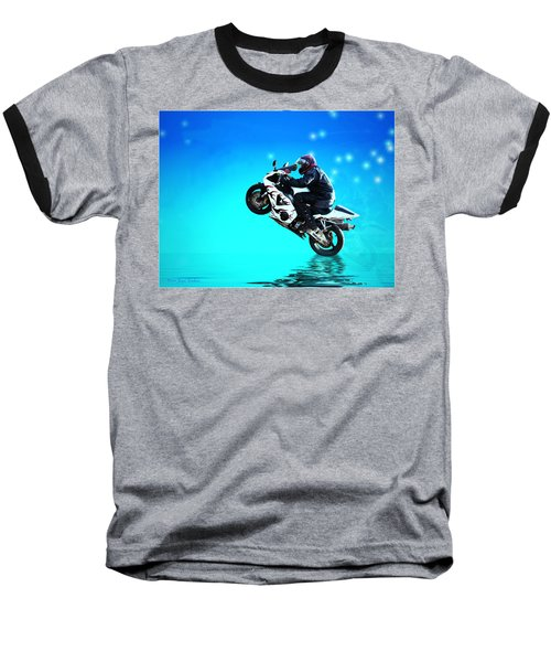 Baseball T-Shirt featuring the photograph Flying Low One More Time On Two Wheels by Joyce Dickens