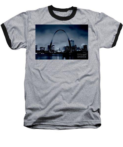Fog Over St Louis Monochrome Baseball T-Shirt by Garry McMichael