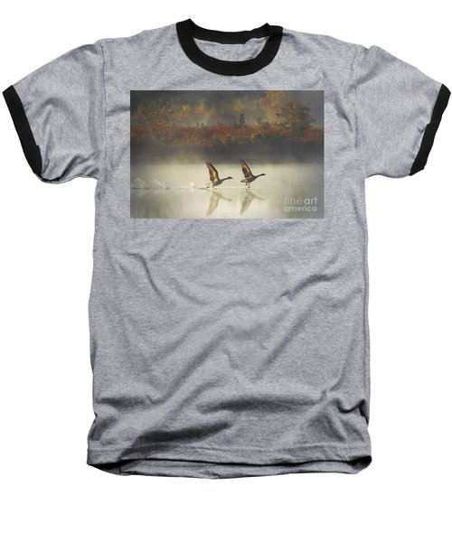 Foggy Autumn Morning Baseball T-Shirt