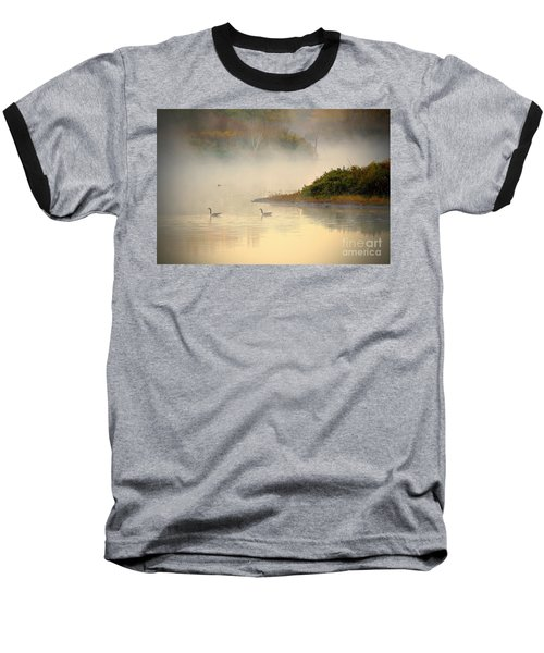 Foggy Autumn Swim Baseball T-Shirt