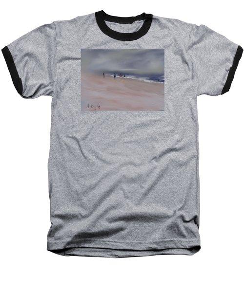 Fog On Folly Field Beach Baseball T-Shirt by Frank Bright