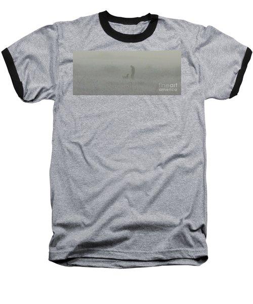 Foggy Dog Walk Baseball T-Shirt