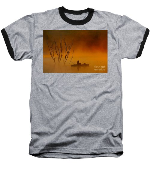 Foggy Morning Fisherman Baseball T-Shirt