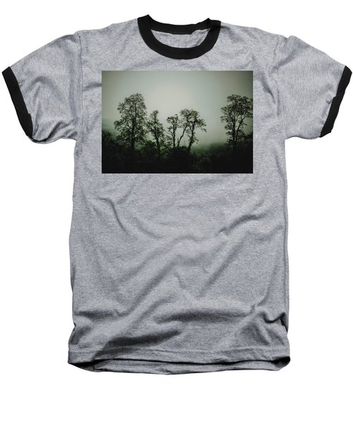 Foggy Mountain Morning At The Meadows Of Dan Baseball T-Shirt by John Haldane