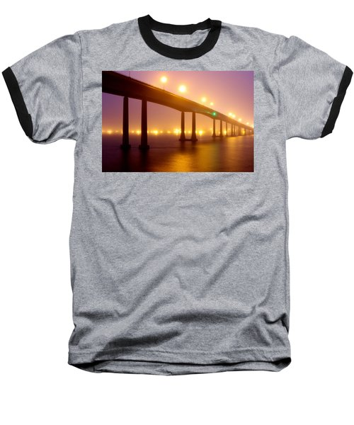 Foggy Navy Bridge Baseball T-Shirt