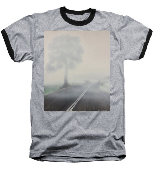 Baseball T-Shirt featuring the painting Foggy Road by Tim Mullaney