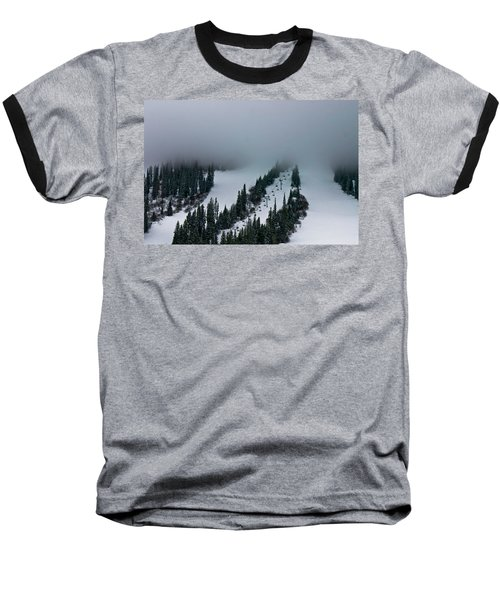 Foggy Ski Resort Baseball T-Shirt by Eti Reid