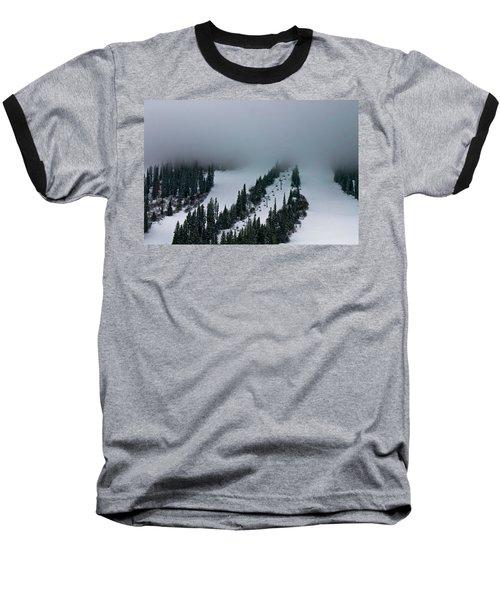 Foggy Ski Resort Baseball T-Shirt