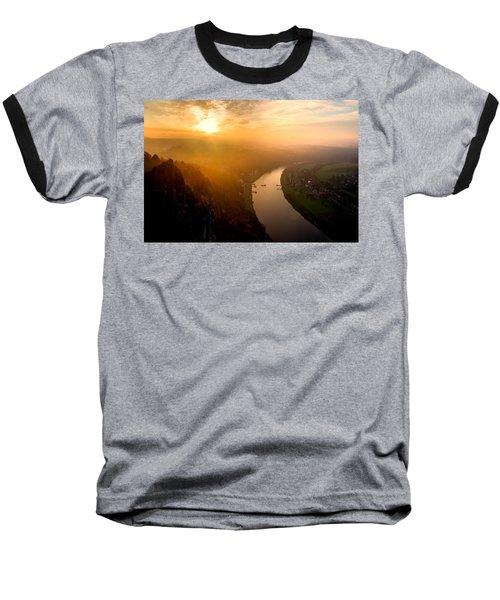 Foggy Sunrise At The Elbe Baseball T-Shirt