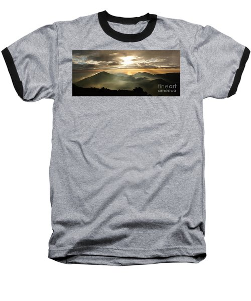 Foggy Sunrise Over Haleakala Crater On Maui Island In Hawaii Baseball T-Shirt by IPics Photography