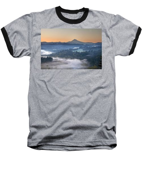 Baseball T-Shirt featuring the photograph Foggy Sunrise Over Sandy River And Mount Hood by JPLDesigns