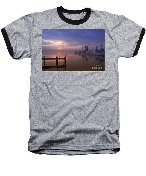 Foggy Sunset Over Swansboro Baseball T-Shirt by Benanne Stiens
