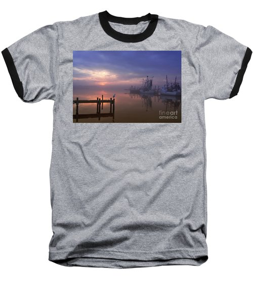 Foggy Sunset Over Swansboro Baseball T-Shirt