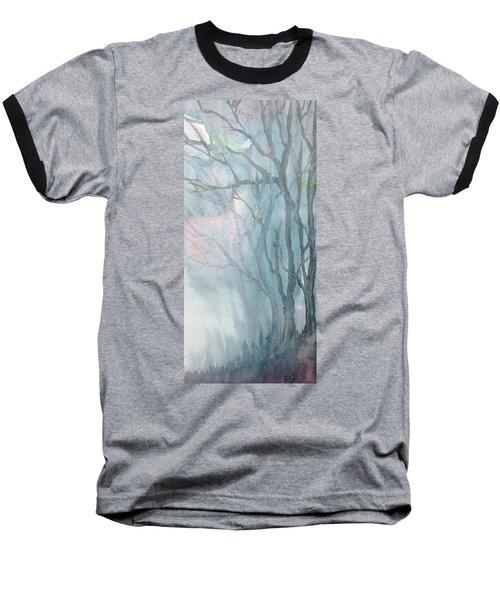 Foggy Trees Baseball T-Shirt