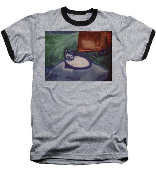 Folk Art Cat Baseball T-Shirt