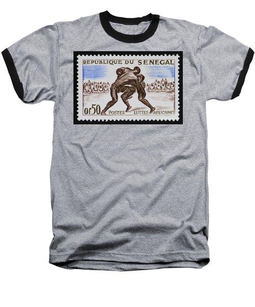 Folk Wrestling Vintage Postage Stamp Print Baseball T-Shirt