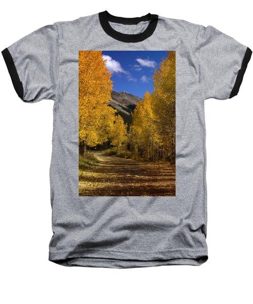 Baseball T-Shirt featuring the photograph Follow The Gold by Ellen Heaverlo
