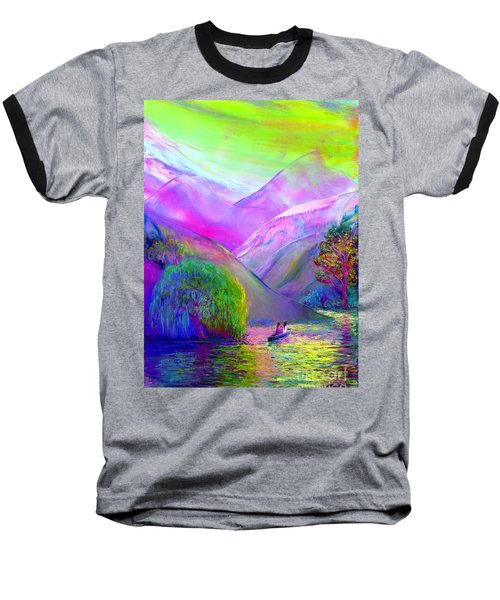 Baseball T-Shirt featuring the painting  Love Is Following The Flow Together by Jane Small