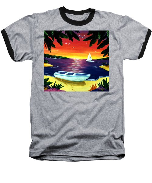Footprints In Paradise Baseball T-Shirt by Lance Headlee