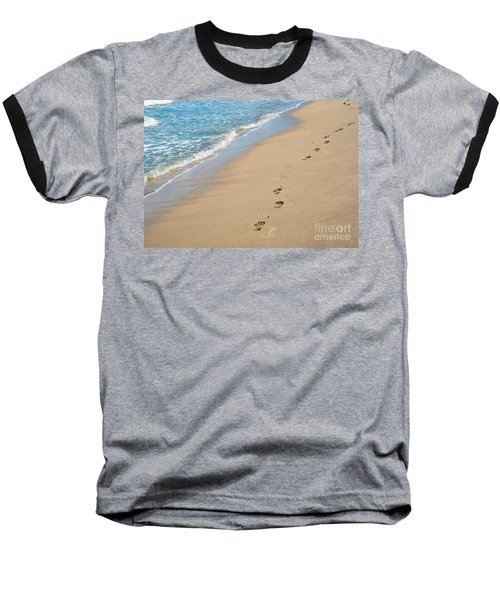 Footprints In The Sand Baseball T-Shirt by Juli Scalzi