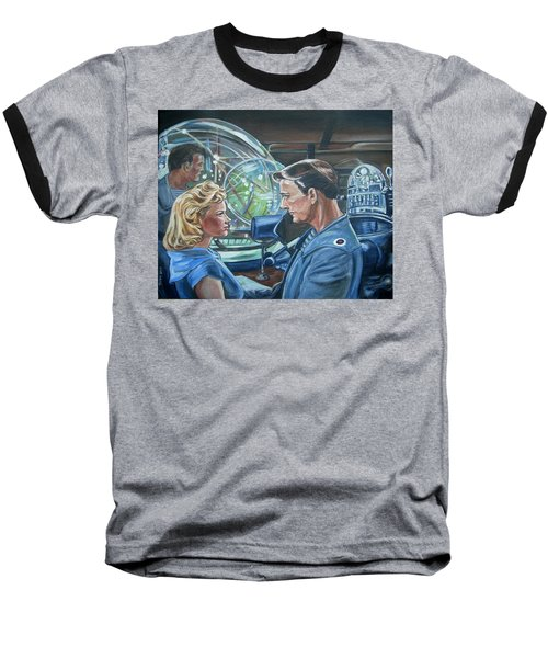 Baseball T-Shirt featuring the painting Forbidden Planet by Bryan Bustard