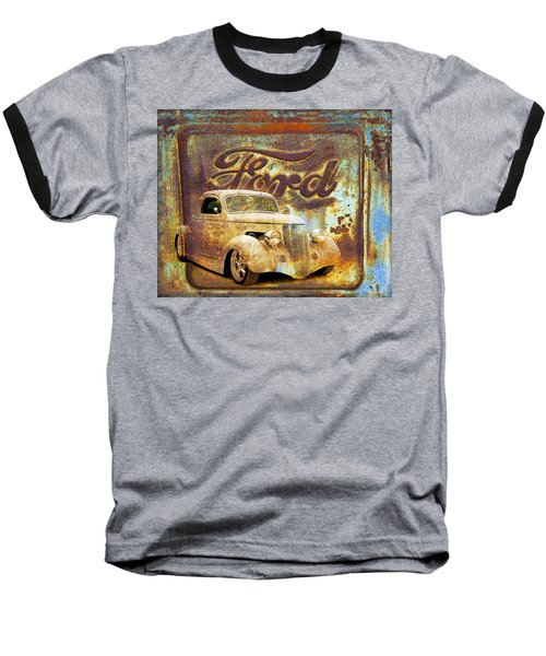 Ford Coupe Rust Baseball T-Shirt by Steve McKinzie