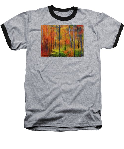 Baseball T-Shirt featuring the painting Forest In The Fall by Bruce Nutting