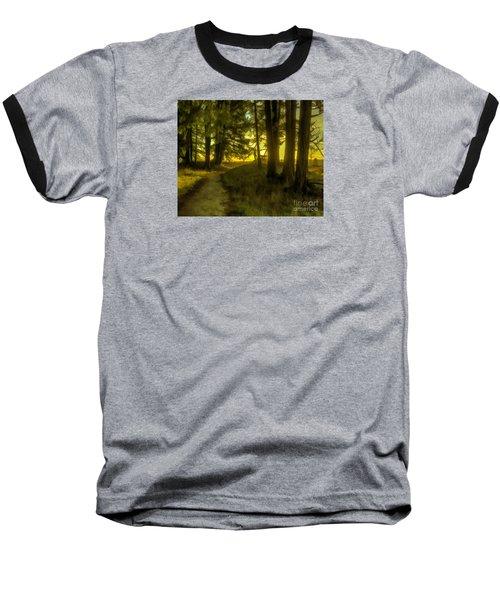 Forest Path Baseball T-Shirt by Jean OKeeffe Macro Abundance Art